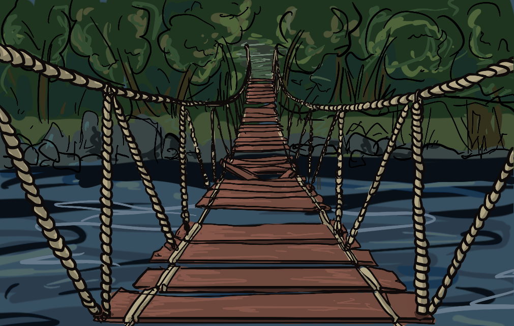 A rickity bridge leads over a rushing river. On the other side are trees and solid ground.